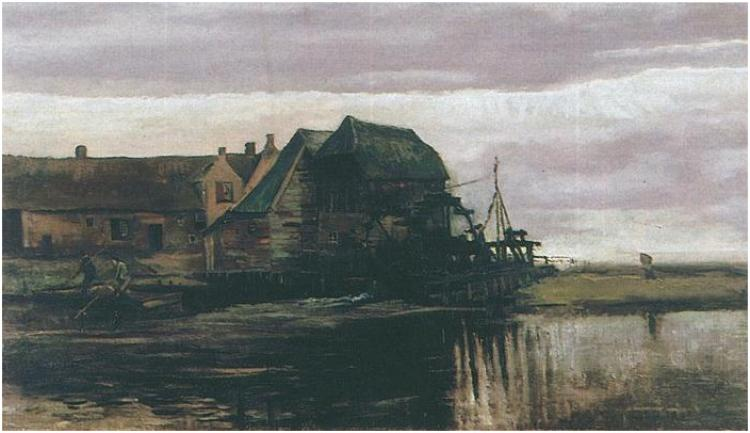 Van Gogh: Water Mill at Gennep Painting, Oil on Canvas on Panel Nuenen: November, 1884 Museo Thyssen-Bornemisza Madrid, Spain, Europe