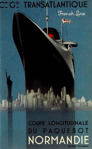 "Andre Wilquin (1899-2000) Cover of the longitudinal section of ""Normandie"" Print, 1935 © Colección Association French Lines"